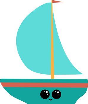 Emoji of a little ship, vector or color illustration