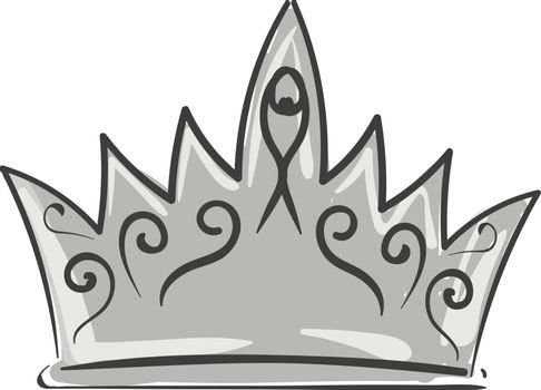 Painting of a silver crown, vector or color illustration