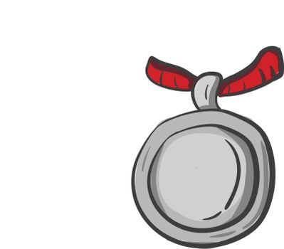 Painting of the silver medal, vector or color illustration