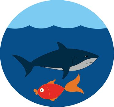 Portrait of the underwater life, vector or color illustration