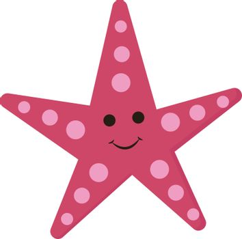 Emoji of the smiling five-pointed pink star, vector or color ill