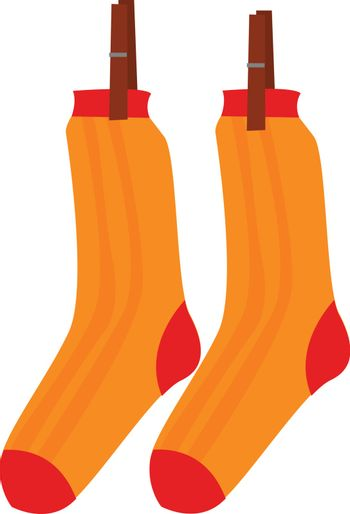 Clipart of the pair of socks hanging while clasped with the wood