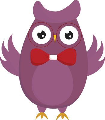 Clipart of a cute little owl in a red bowtie looks amazing, vect