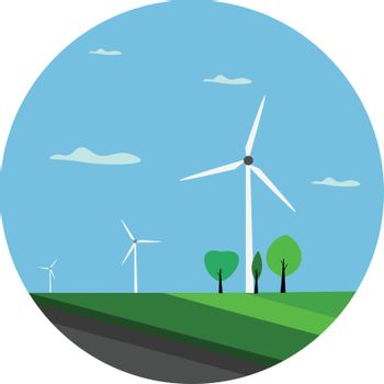 Portrait of a landscape with few green trees and wind turbines a