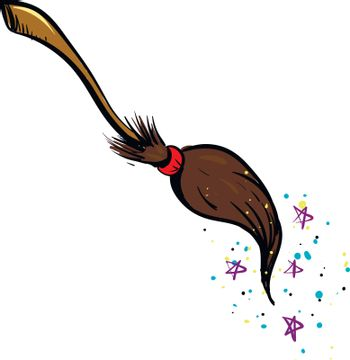 Drawing of the witch broom along with stars and sprinkles that c