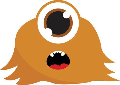 Brown one eyed monster, vector or color illustration.