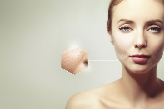 skin aging and treatment, concept portrait