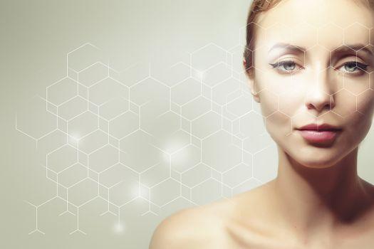 cellular rejuvenation concept, portrait of caucasian woman