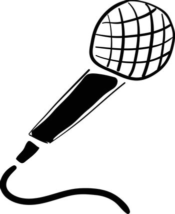 A black microphone with a white head, vector, color drawing or illustration.