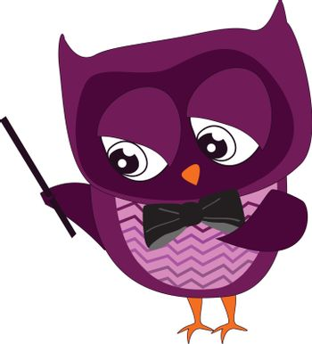 A dark purple owl teaching music holding a stick, vector, color drawing or illustration.