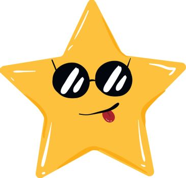 Emoji of a five-pointed star in sunglasses, vector or color illu