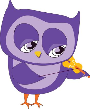 A purple owl playing a yellow violin, vector, color drawing or illustration.