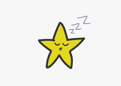 Drawing of the five-pointed star, sleeping, vector or color illu