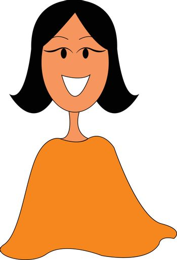Clipart of a smiling young girl, vector or color illustration.