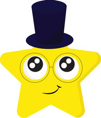 Emoji of the smiling five-pointed yellow star in a magician's bl