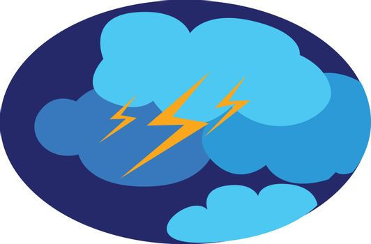 A landscape of the lightning and thunder on a rainy day, vector