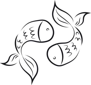 Silhouette of two black-colored fish facing each other, vector o