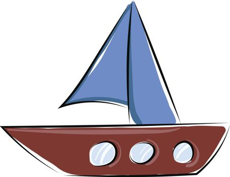 Painting of a small boat, vector or color illustration.