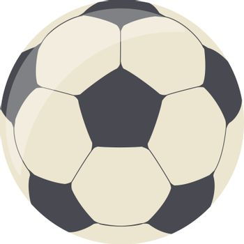 A elutriation of a black and white football ball, vector, color drawing or illustration.