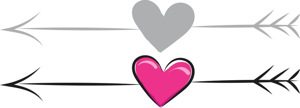 A coloured drawing of pink colour heart with arrow., vector, color drawing or illustration.