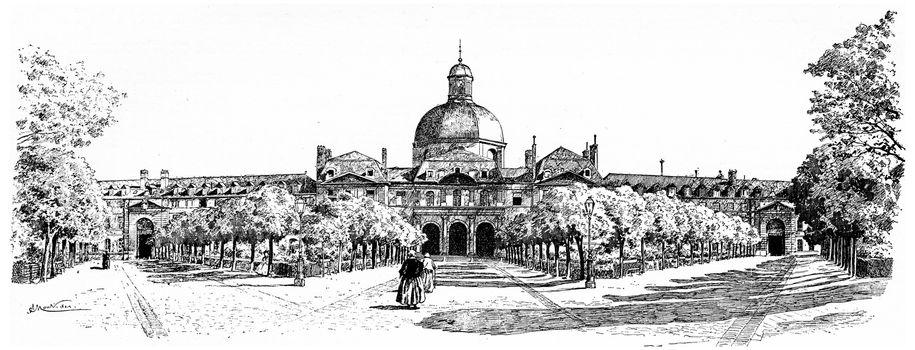 The large interior facade of the Salpetriere, vintage engraved illustration. Paris - Auguste VITU – 1890.
