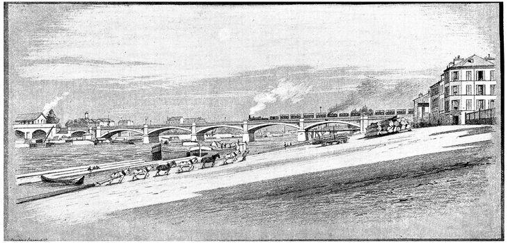 East of Paris, The Pont National, vintage engraved illustration. Paris - Auguste VITU – 1890.