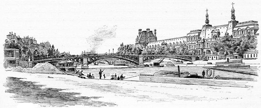 The Pont du Carrousel and the Louvre seen from the dock Malaquais, vintage engraved illustration. Paris - Auguste VITU – 1890.
