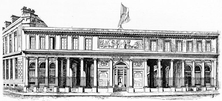 The School of Medicine, vintage engraved illustration. Paris - Auguste VITU – 1890.