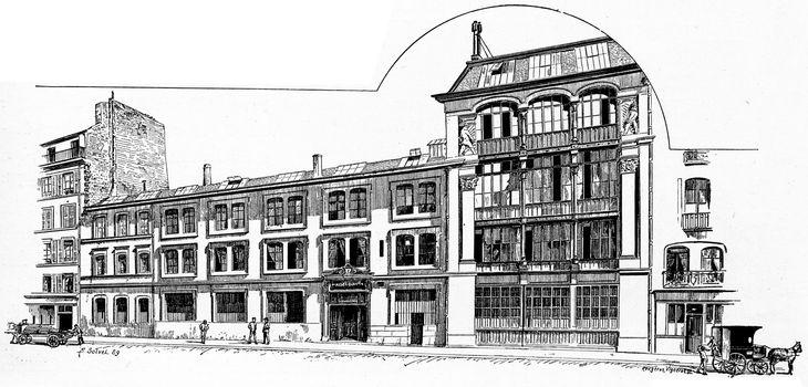 Printing bookstore Quantin House, vintage engraved illustration. Paris - Auguste VITU – 1890.