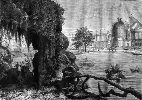 The Palace of the Champ de Mars, view from the cave, vintage eng