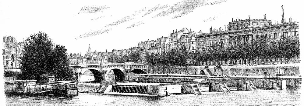 The Pont Neuf, the sluice and currency, vintage engraved illustration. Paris - Auguste VITU – 1890.