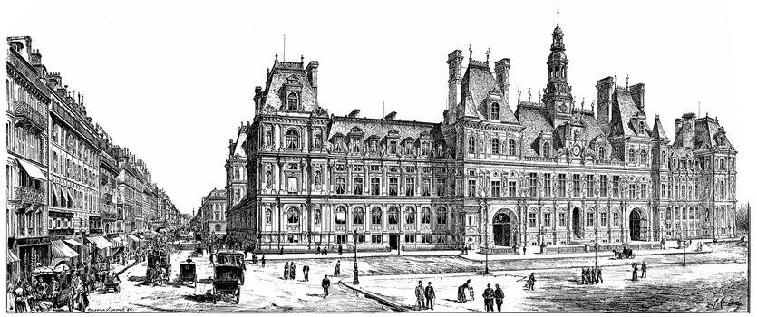 Rue de Rivoli and City Hall, vintage engraved illustration. Paris - Auguste VITU – 1890.
