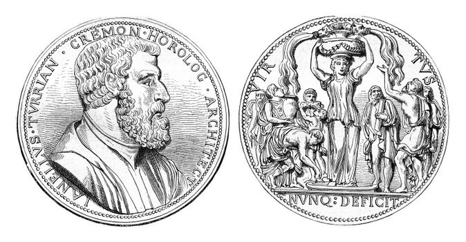 Juanelo turriano. Medal struck in 1559 in Cremona, vintage engra