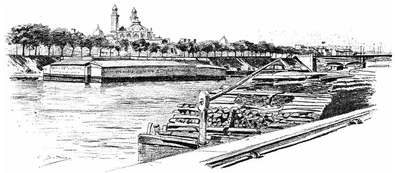 The Seine at Grenelle and the Isle of Swans, vintage engraved illustration. Paris - Auguste VITU – 1890.