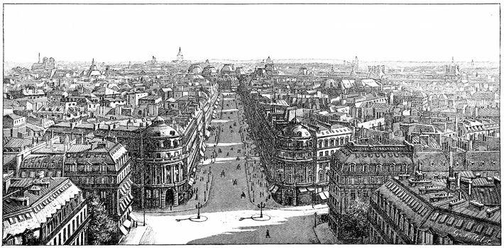 Panorama taken from the Loggia of the Opera, vintage engraved illustration. Paris - Auguste VITU – 1890.