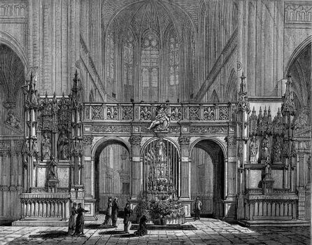 The Rood Screen of the church of Saint-Florentin, Yonne, vintage