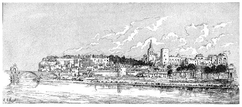 Avignon, vintage engraved illustration. Dictionary of words and things - Larive and Fleury - 1895.