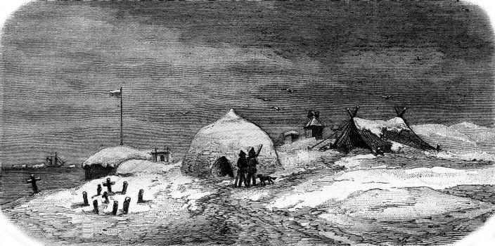 Observatory and the expedition huts of Vega Pitlekaie, vintage engraved illustration. Magasin Pittoresque 1880.