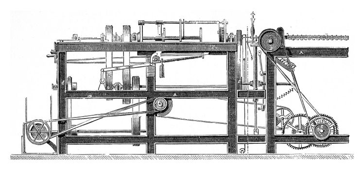 Machines for manufacturing the rope yarn by Mr Lawson, vintage engraved illustration. Industrial encyclopedia E.-O. Lami - 1875.