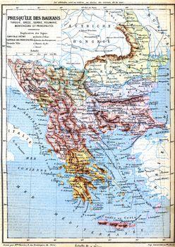 The map of Balkan Peninsula (Turkey, Greece, Serbia, Romania and