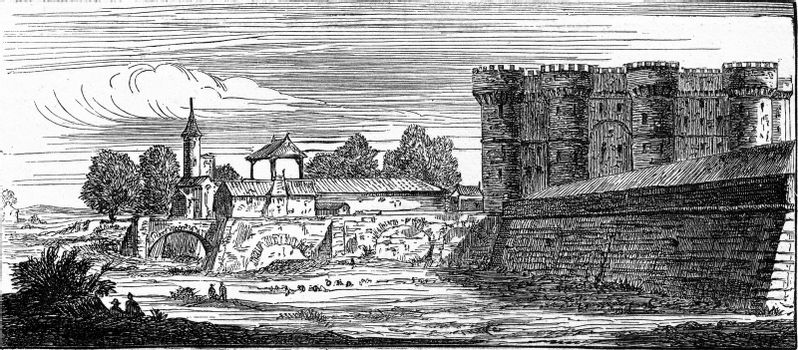 The Bastille, after an old engraving of the topography of Paris, vintage engraved illustration. Industrial encyclopedia E.-O. Lami - 1875.