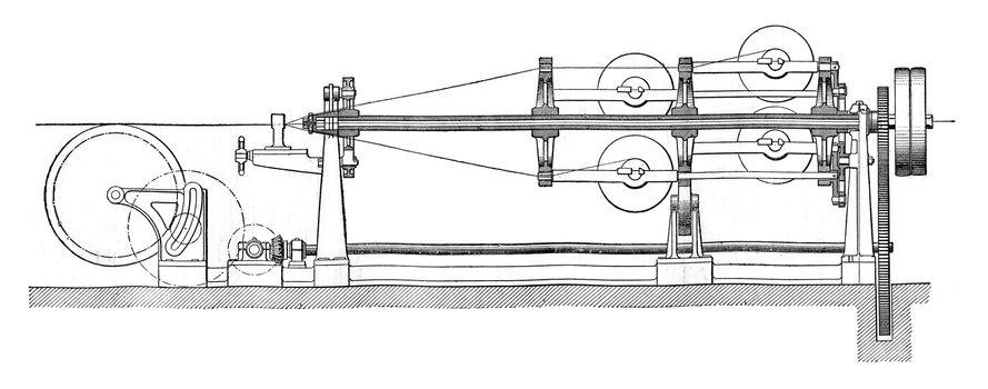 Stranding, vintage engraved illustration. Industrial encyclopedia E.-O. Lami - 1875.