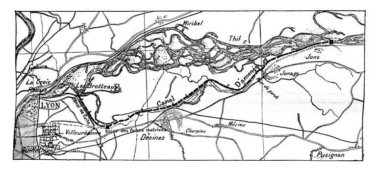 General Map Jonage canal, vintage engraved illustration. Industrial encyclopedia E.-O. Lami - 1875.