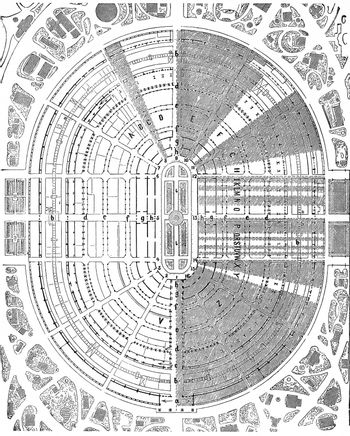 Plan of the palace of the 1867 exhibition at the Champ de Mars i