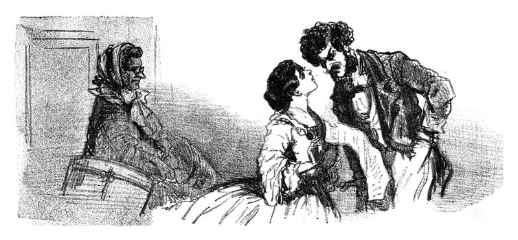 In 1857, the men also on feathers, but another manuere, vintage engraved illustration. From The Tortures of Fashion.