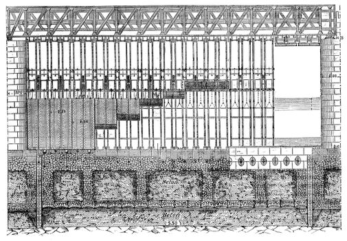 Elevation Amount of a navigable channel of the Poses dam, vintag