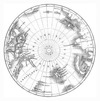 Map circumpolar regions of northern hemisphere, vintage engravin