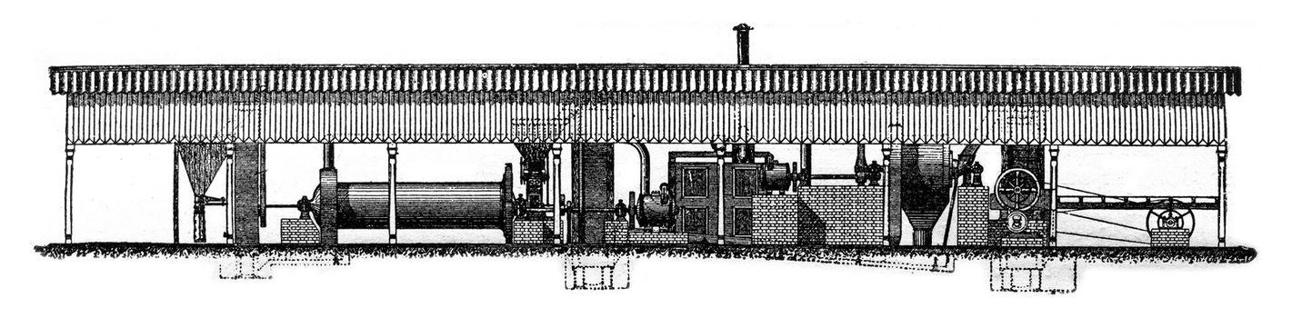 Smidt grinding plant, vintage engraved illustration. Industrial encyclopedia E.-O. Lami - 1875.