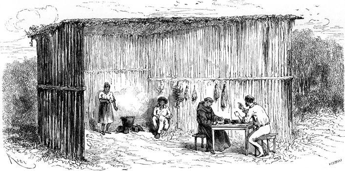 Kitchen and dining room of the mission of Tierra Blanca, vintage engraved illustration. Le Tour du Monde, Travel Journal, (1865).