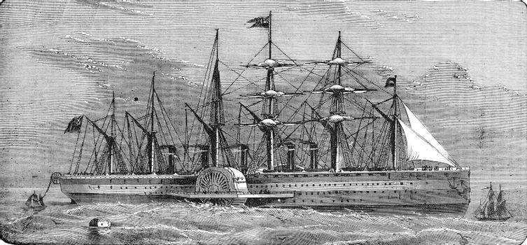 The Great-Eastern reeling off the telegraph cable, vintage engraved illustration. Industrial encyclopedia E.-O. Lami - 1875.